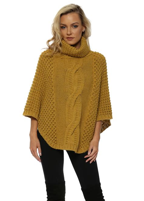 cable knit poncho j l mustard cable knit poncho