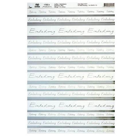 Hochzeitseinladung Din A4 by Kreativpapier Quot Einladung Quot Selbstklebend Silber F 252 R Die