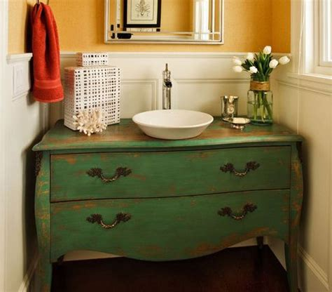 green dresser used as bathroom vanity decorating ideas