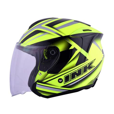 Helm Ink Dynamic jual ink dynamic 01 helm half yellow fluo grey harga kualitas terjamin