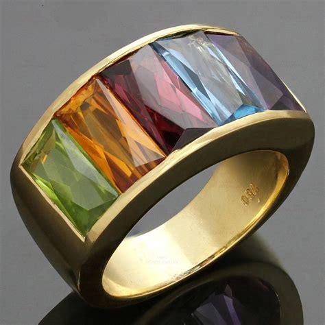 1980s h multicolor gemstone rainbow yellow gold