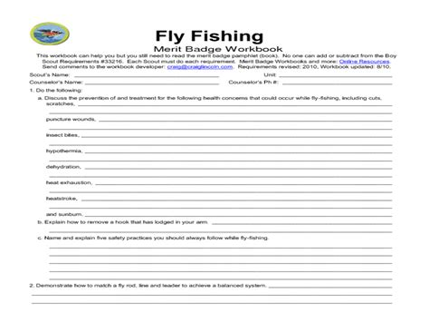 printables fishing merit badge worksheet mywcct