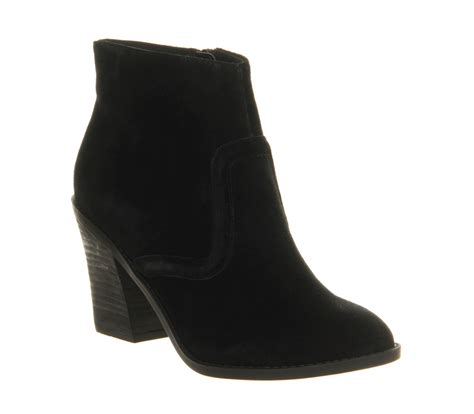 office montage black suede ankle boots