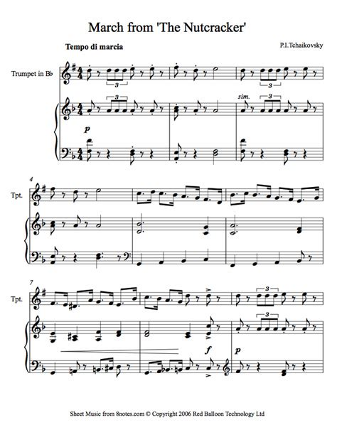 piece of music between sections of a play tchaikovsky march from the nutcracker sheet music for