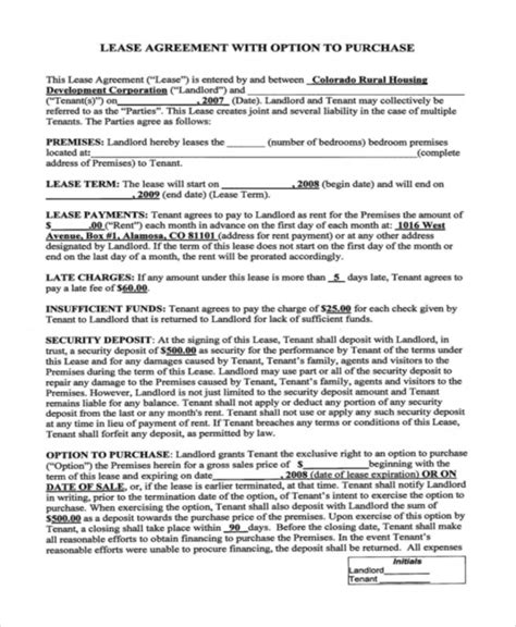 6 Rent To Own Home Contracts Sle Templates Rent To Own Agreement Template