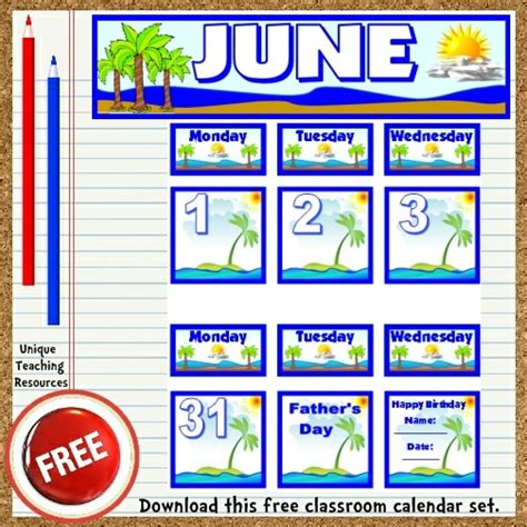 printable calendar classroom free printable june classroom calendar for school teachers