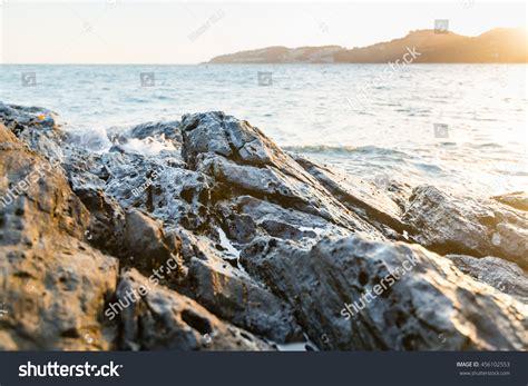 rocks in spanish view reef rocks mediterranean spanish beach stock photo