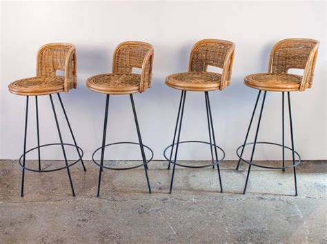 High Wicker Bar Stools by Set Of Four Vintage Rattan Bar Stools At 1stdibs