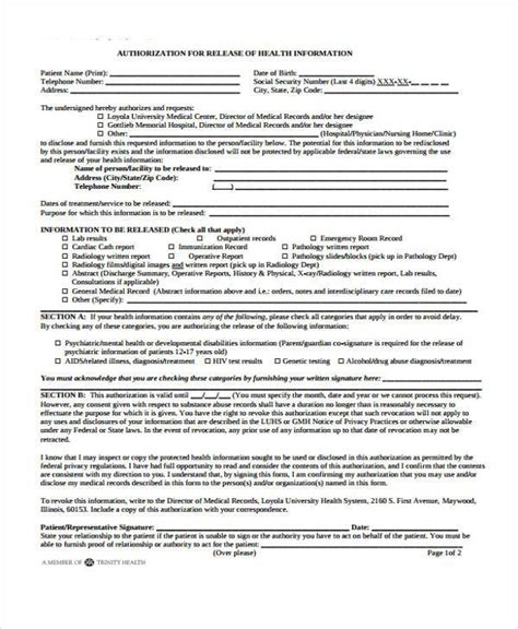 hospital release form template 9 hospital release form sles free sle exle