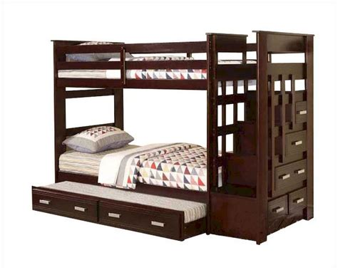 bunk beds twin acme furniture twin over twin bunk bed in espresso ac10170