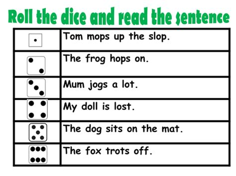 roll the dice books roll and read phase 2 phonics by jeni0 teaching