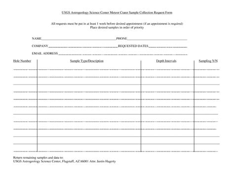information protocol template meteor crater sle request form usgs astrogeology
