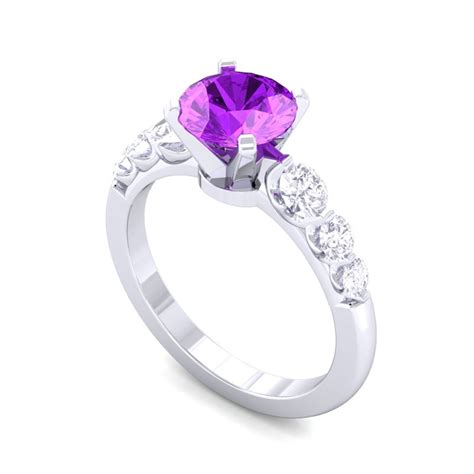 purple amethyst fg si gemstone diamonds engagement