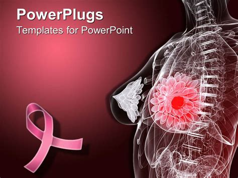 Powerpoint Template Imaginative Female Anatomy Depicting Breast Tumor With Pink Ribbon For Breast Cancer Powerpoint Template Free