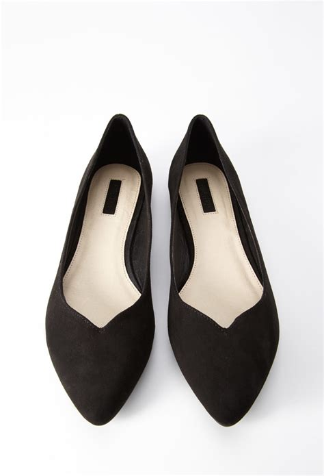 forever 21 flat shoes forever 21 faux suede pointed flats in black lyst