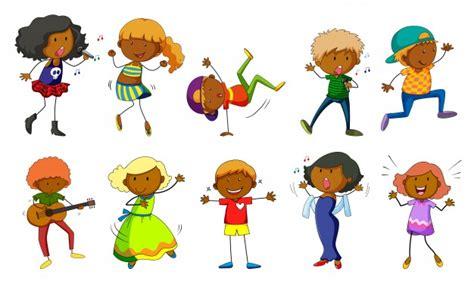 imagenes niños bailando animados conjunto de ni 241 os cantando y bailando ilustraci 243 n