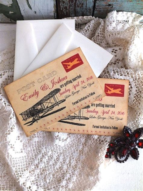 Handmade Save The Date Cards - vintage airplane postcard save the date cards handmade by