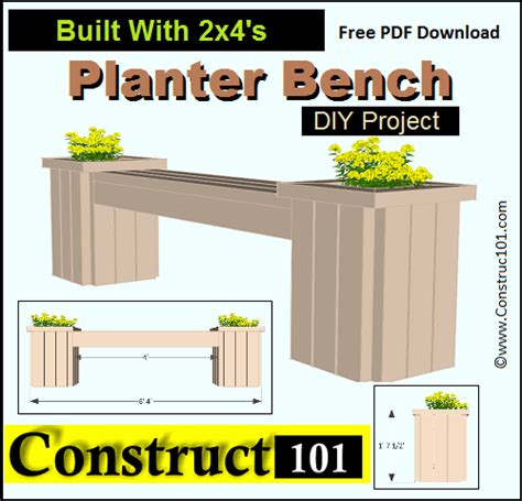 planter bench plans outdoor garden bench plans free construct101