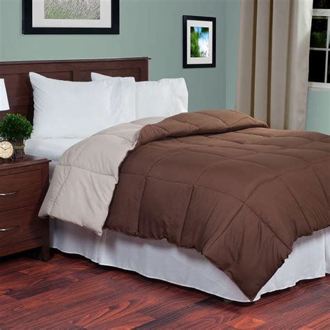 down alternative king comforter lavish home reversible chocolate taupe down alternative