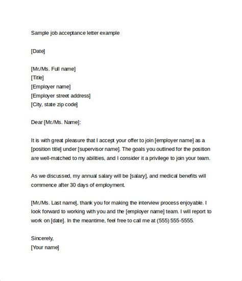 Acceptance Letter For Faculty Position Sle Letter From Employer Cover Letter Templates