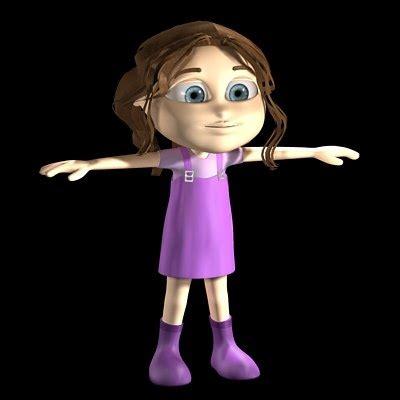 3d little girl pw girl cartoon 3d model