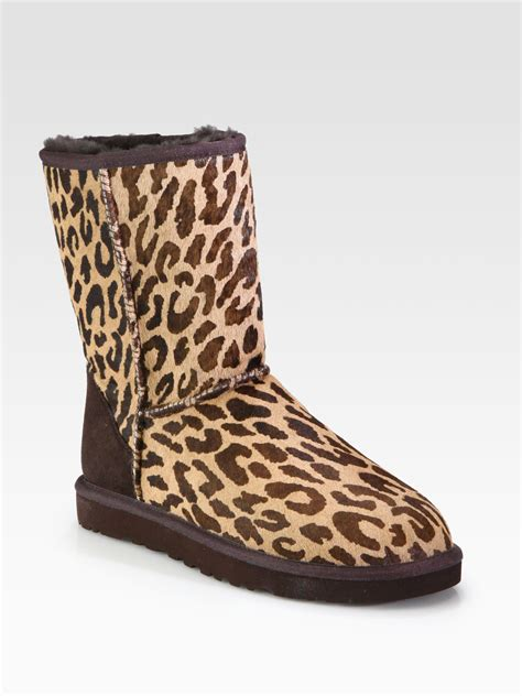 cheetah boots ugg classic leopardprint calf hair boots in brown