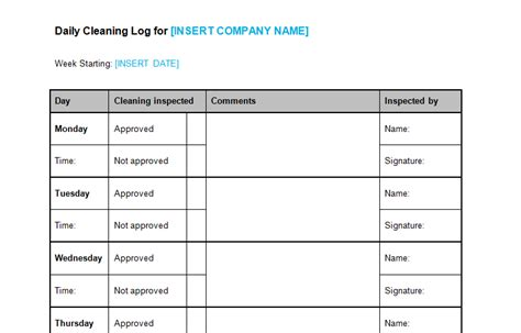 Daily Cleaning Log Template Bizorb Cleaning Log Template