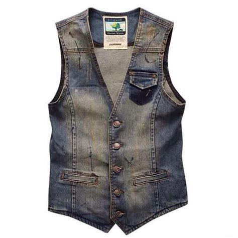 Vest Cardigan Denim plus size s denim vest brand cowboy vintage casual sleeveless holes personalized