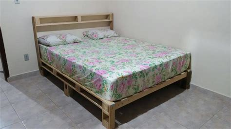 wood pallets for bed frame diy pallet bed with headboard and lights 101 pallet ideas