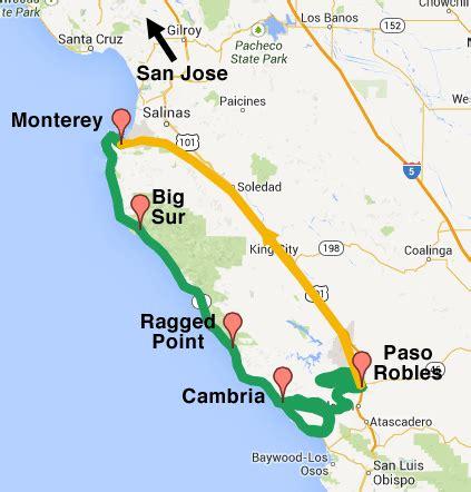 big sur map california california bicycle tour big sur pacific coast