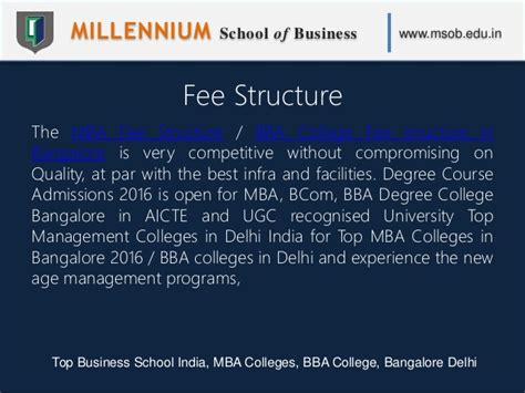 Top Mba Colleges In Bangalore With Fees by Millennium School Of Business Msob Top Business