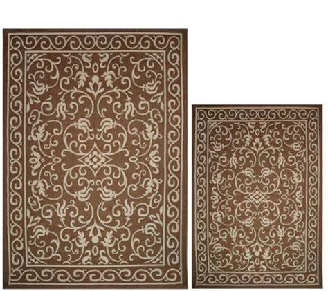 Veranda Living Indoor Outdoor Rug Veranda Living Naturals Indoor Outdoor Reversible Scroll Rug Qvc