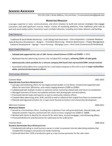 marketing manager resume sle 2015 marketing manager resume