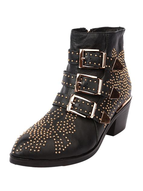 black pointed stud buckle ankle boots choies