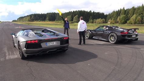 Lamborghini Porsche Porsche 918 Spyder Vs Lamborghini Aventador Pirelli
