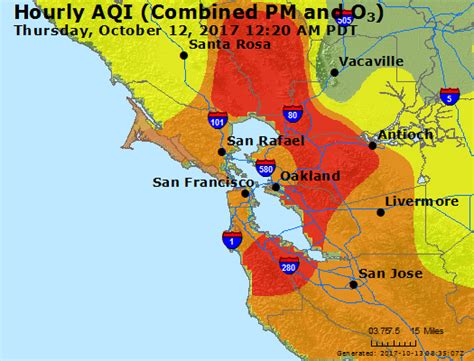 san jose fires map maps where is wildfire smoke worst in bay area