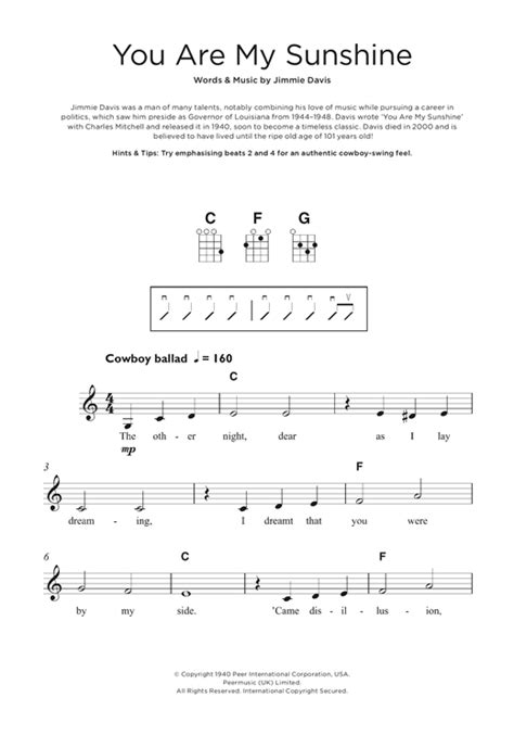 strumming pattern you are my sunshine ukulele supernoty cz