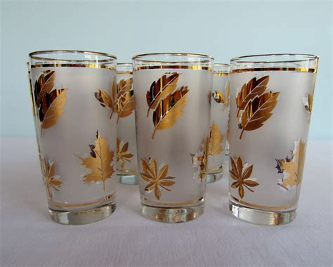 gold barware vintage gold leaf glassware tumblers libby set of 12