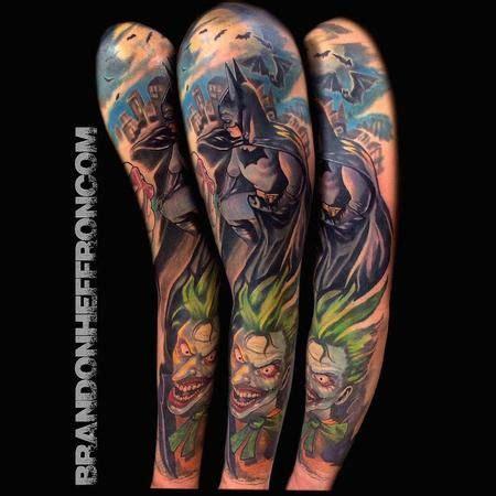 batman tattoo sleeve brandon heffron batman joker sleeve tattoos tattoos