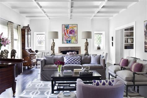 modern living room purple couch interior design color scheme purple and grey eclectic living home