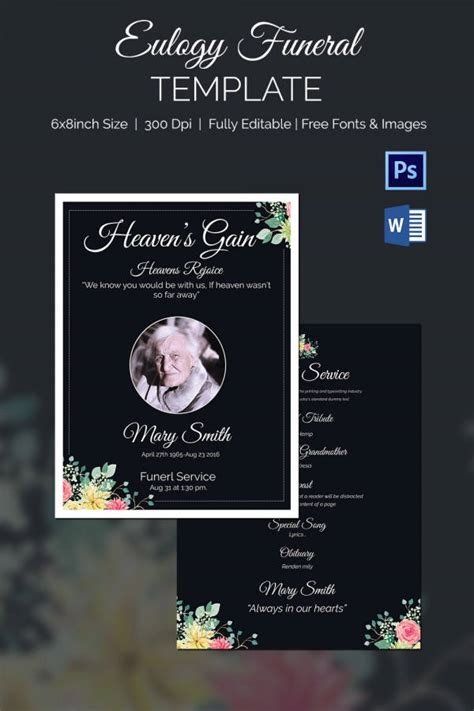 Free Eulogy Card Templates by Funeral Program Template 10 Free Word Psd Format