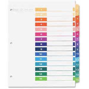 avery divider templates avery ready index table of contents reference divider