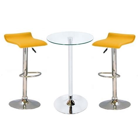 Glass Bar Table And Stools Bente Glass Bar Table With 2 Stratos Yellow Bar Stools
