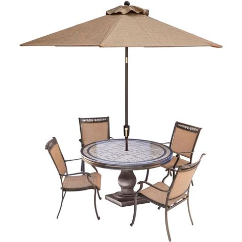 Patio Table Chairs Umbrella Set by Hanover Fontana 5 Aluminum Outdoor Dining Set