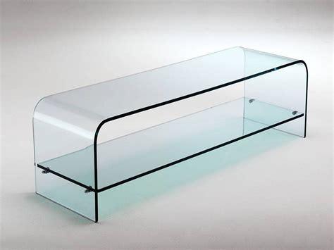 mobile vetro porta tv in cristallo curvato con ripiano