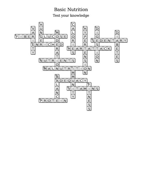 Food And Nutrition Crossword Puzzle Answers - Nutrition Ftempo Nutrition Menu Panda Express