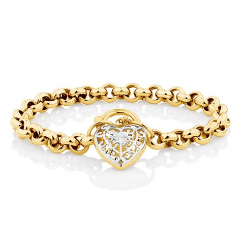south hill design bracelet 19cm 7 5 quot belcher bracelet in 10ct yellow white gold