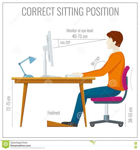 how to keep posture at a desk correct spine sitting posture at computer vector
