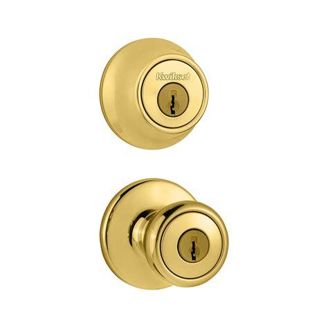 Door Knob And Deadbolt by Shop Kwikset Polo Polished Brass Cylinder Deadbolt
