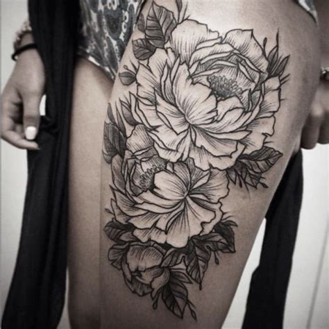 black and white rose thigh tattoos sided black and white flower on thigh